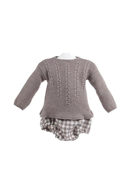 Isabel Maria - Conjunto de jersey y ranita para bebé - 6 meses, Marrón/