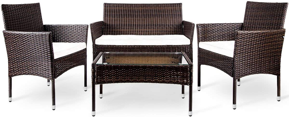 STARTOGOO 4 Pieces Outdoor Patio Furniture Rattan Chair Wicker Sofa Garden Conversation Sets with Soft Cushion and Glass Table for Yard, Pool or Backyard, Brown, Beige