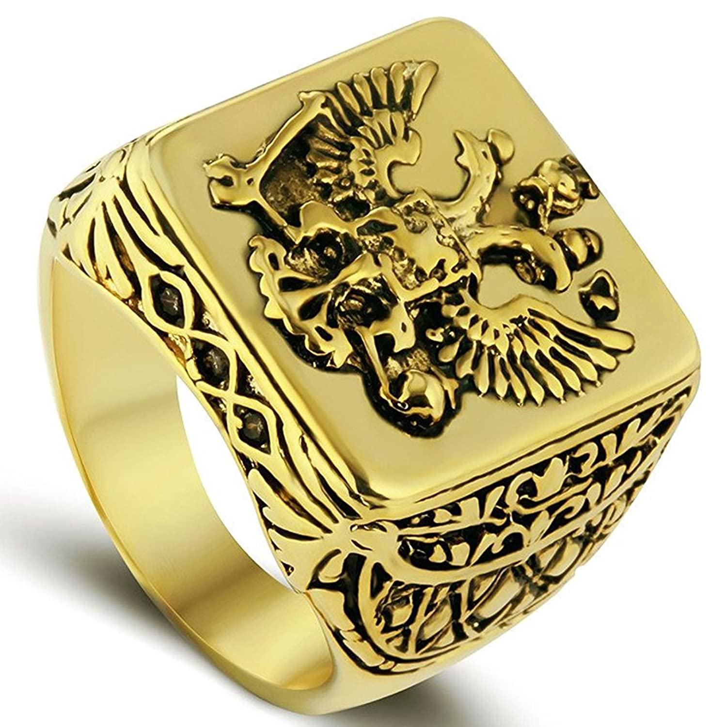 lilileoジュエリーゴールドDouble Headed Imperial EagleリングByzantine EmperorロシアフェデレーションCoat of Arms Signet For Men 'sリングジュエリー B0762DY5R8 7