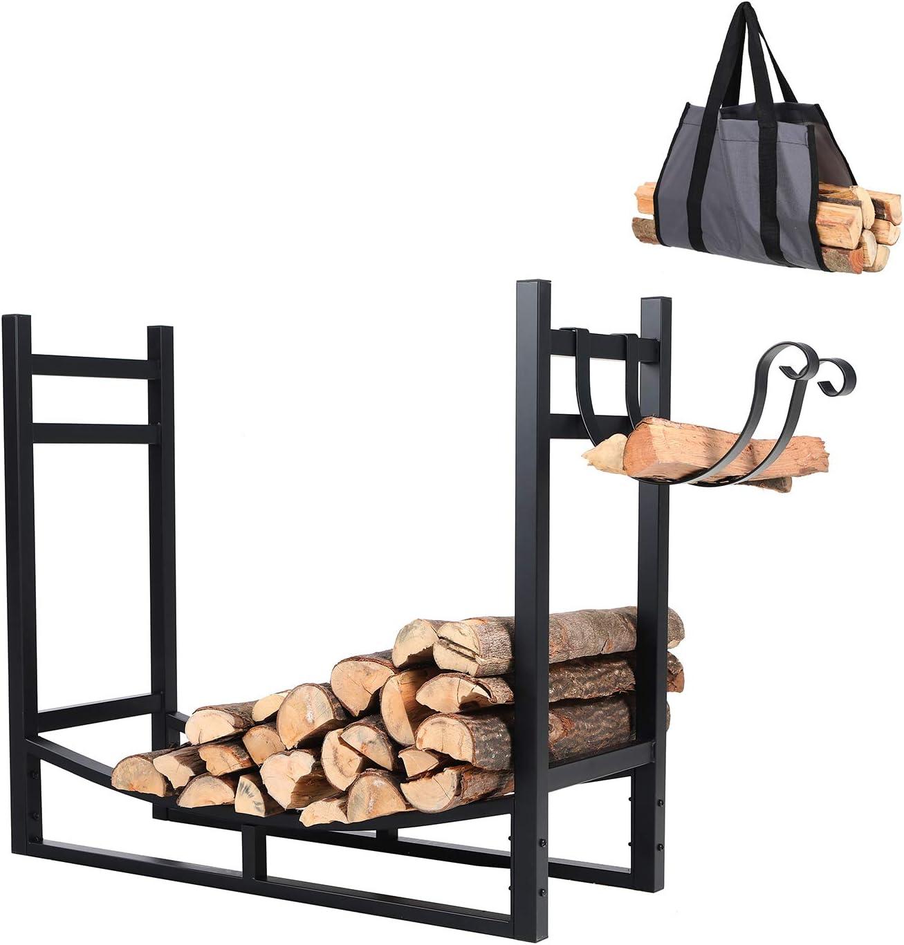 PHI VILLA Heavy Duty Firewood Racks Indoor Outdoor Log Rack with Kindling Holder, 30 Inches Tall, Black