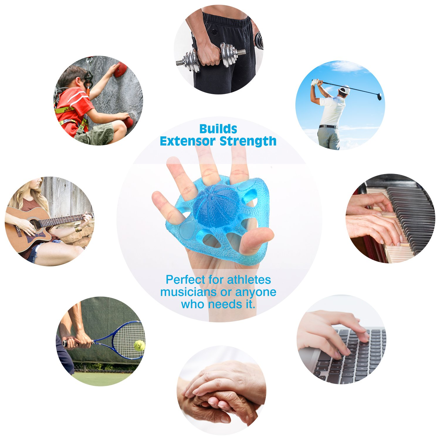Muscle Pain Relief And Therapy Squeeze And Flex Training for Thera-Band Strength Training Blue Stress Reflexology MoKo Grip Exerciser Ball Finger Exerciser /& Hand Strengthener