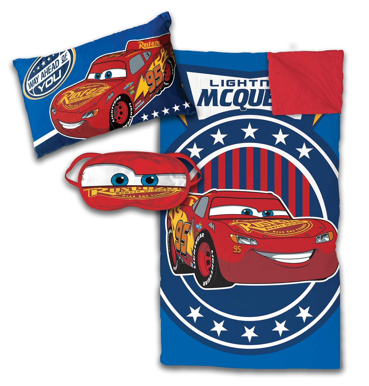 Jay Franco Disney/Pixar Cars 3 Piece Sleepover Set - Cozy & Warm Kids Slumber Bag with Pillow & Eye Mask - Featuring Lightning McQueen (Official Disney/Pixar Product)