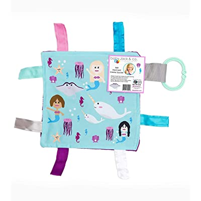 Lovey Chew Blanket Crinkle Toy Tag Square Sensory by Baby Jack (Mermaids and Narwhals) : Baby