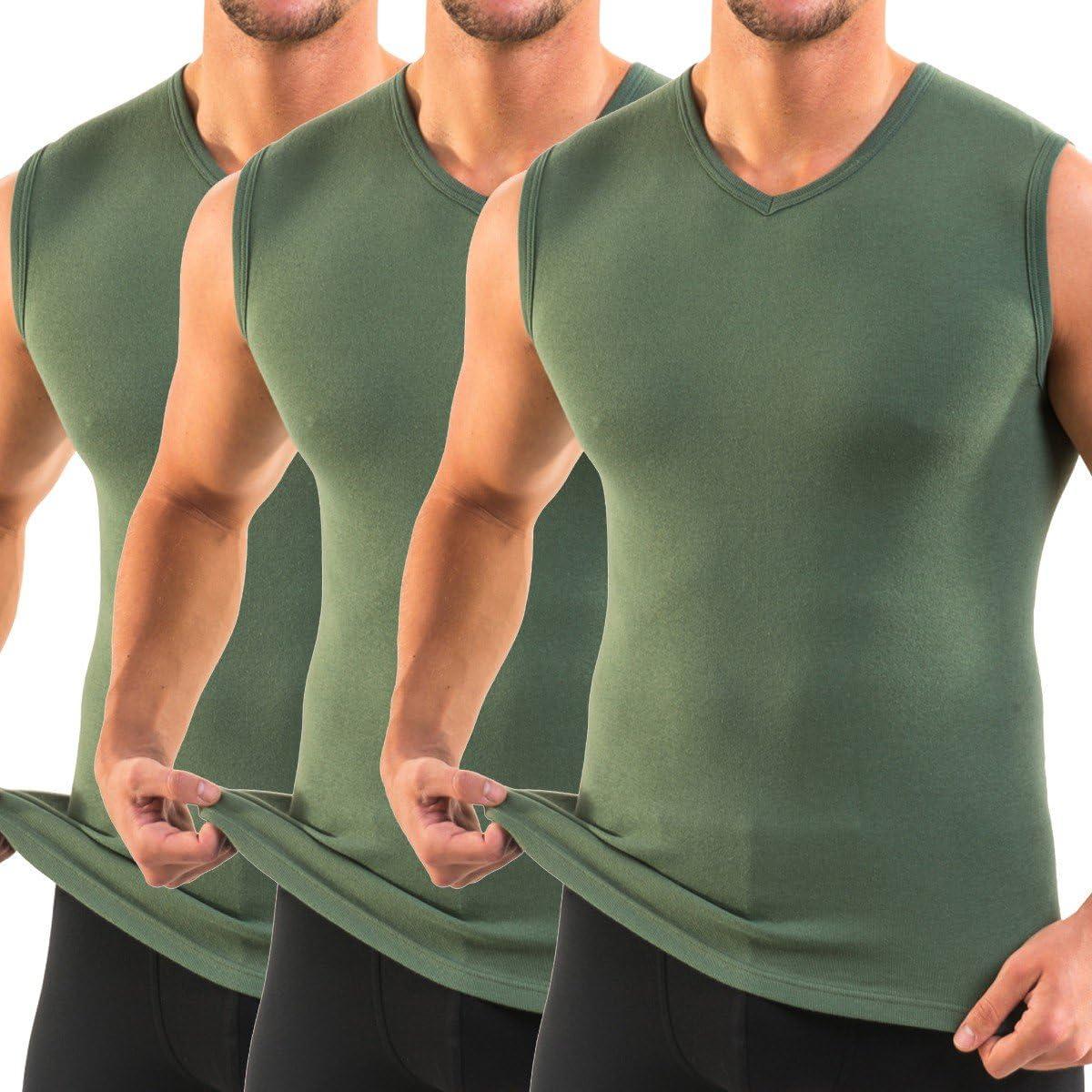 HERMO 3050 Lot de 3 Business Shirt Homme avec col V Maillot de Corps en 100/% Coton Tank Top