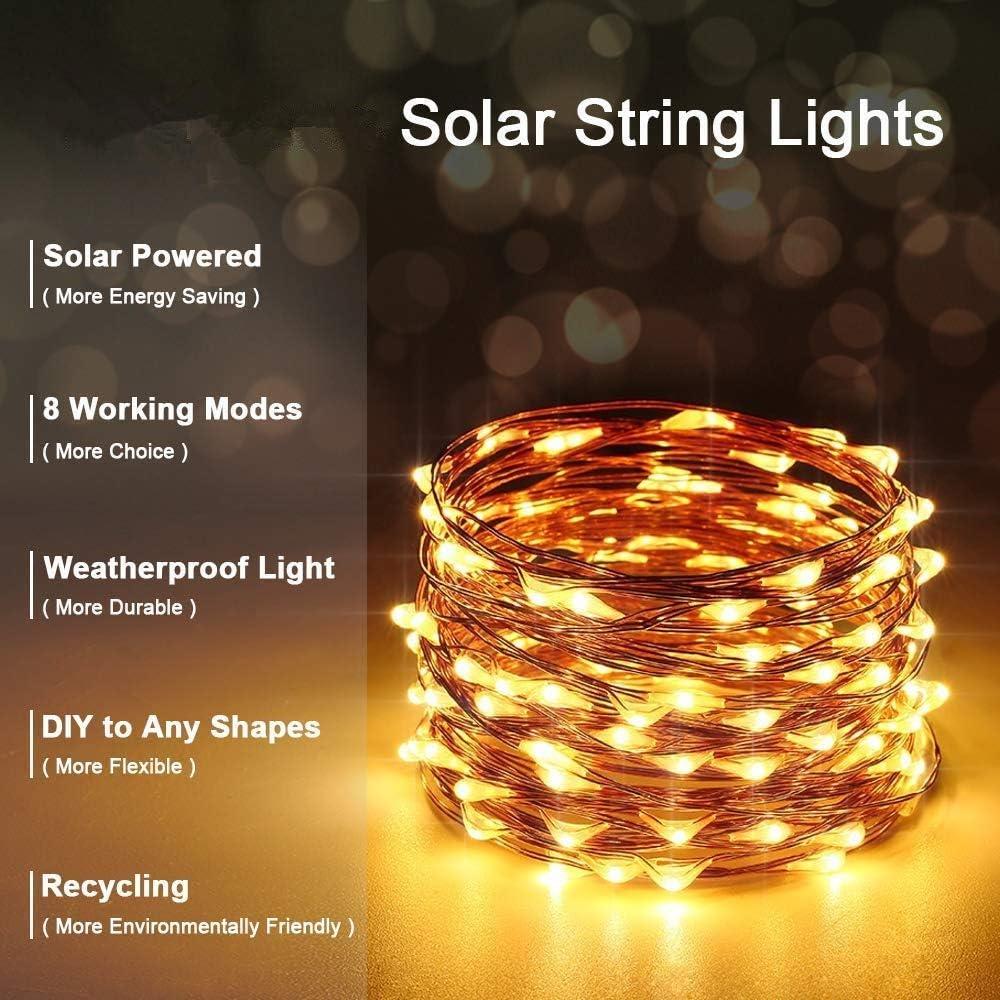 Confezione da 2 litogo Solare Lucine all/'aperto 12m 120LED Solar Giardino Luci 8 per