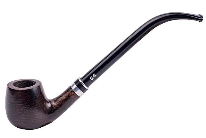 """6.5"""" Churchwarden style Tobacco Smoking pipe """"HOBBIT"""" Hand Made, Pear wood, Black finish, Metal cooling filter + Branded Pouch (special edition for Watson)"""