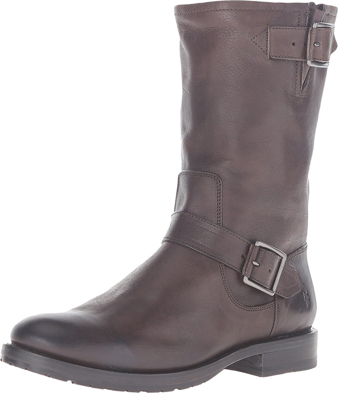 FRYE Women's Natalie Mid Suede Engineer Boot B0193YVQ56 5.5 B(M) US|Charcoal Tumbled Full Grain