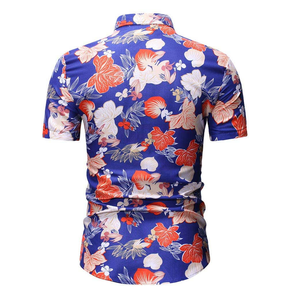 Mens Floral Prints Shirts Short Sleeve Flowers Casual Shirt Swimming Holiday Beach Shirts Tops