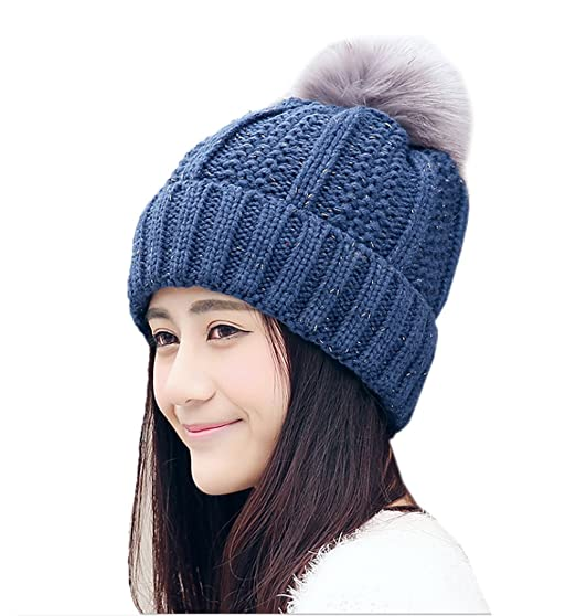 a36f1b96ffe ECHERY Women Winter Warm Faux Fur Pom Pom Thick Cable Knit Slouchy Beanie  Skull Cap Hats Navy Blue at Amazon Women s Clothing store