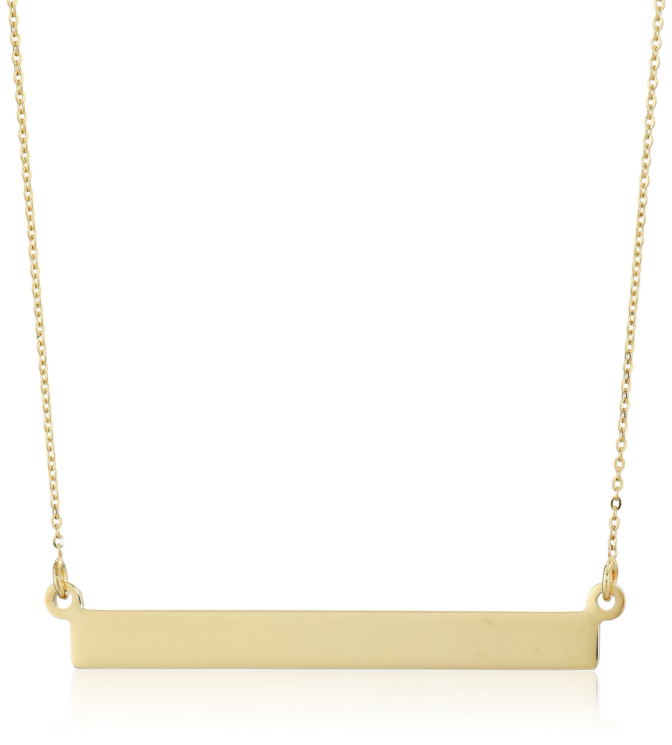 14K Yellow Gold Flat Bar Rolo- Chain Necklace, 18''