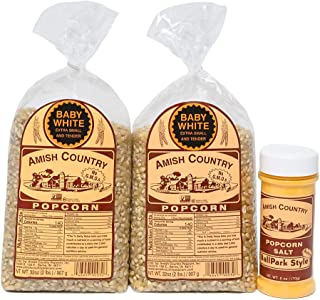 product image for Amish Country Popcorn | Variety Bundles | 4 lb Baby White Popcorn Kernels and 6 oz BallPark Style ButterSalt Set | Old Fashioned with Recipe Guide