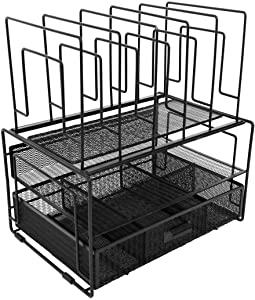 Blu Monaco Black Workspace Desk Organizer and Accessories Desktop Rack with File sorters and Drawer for Office Supplies, Paper, Device and Folder