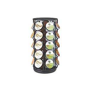 Mind Reader METCAR35-BLK Coffee Pod Storage Carousel, Holds 35 K-Cups, Coffee Pod Holder, Black Metal Mesh