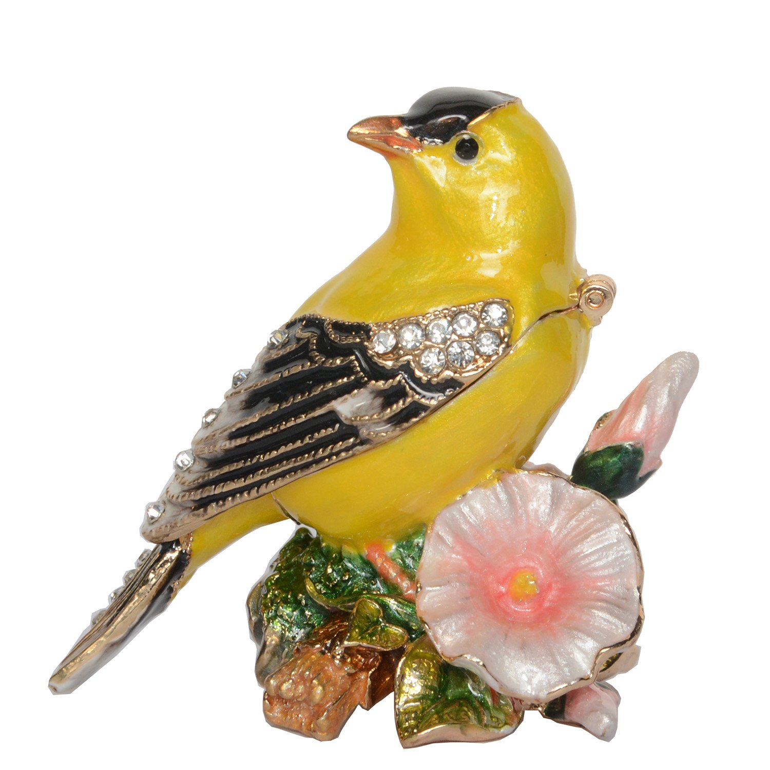 Bird Trinket Box Metal Enameled Animal Figurine Collectable Wedding Jewelry Ring Holder Organizer (Canary)