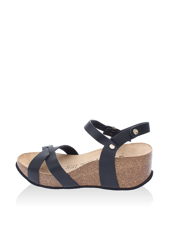 Backsun – Flip Flops/Sandalen – Hanoi Damen – schwarz matt schwarzer Sohle – Damen Schwarz 80b05c