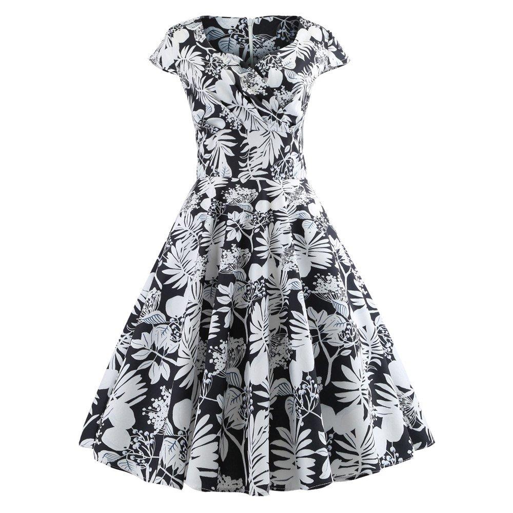 165f513f7a5 Daoroka Women s Retro Vintage 1950s Style Cap Sleeve Swing Party Dress  Retro Floral V Neck Prom Dress at Amazon Women s Clothing store