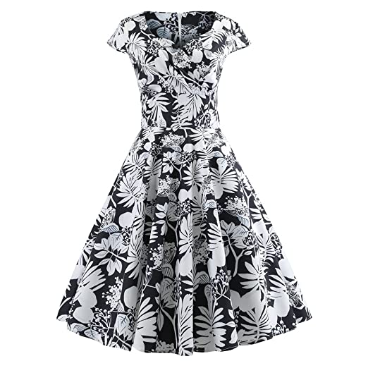 07839f6d6 Short Sleevel Flared Comfortable Cocktail Dress Vintage Ruched V Neck  Evening Printing Party Prom Swing Dress