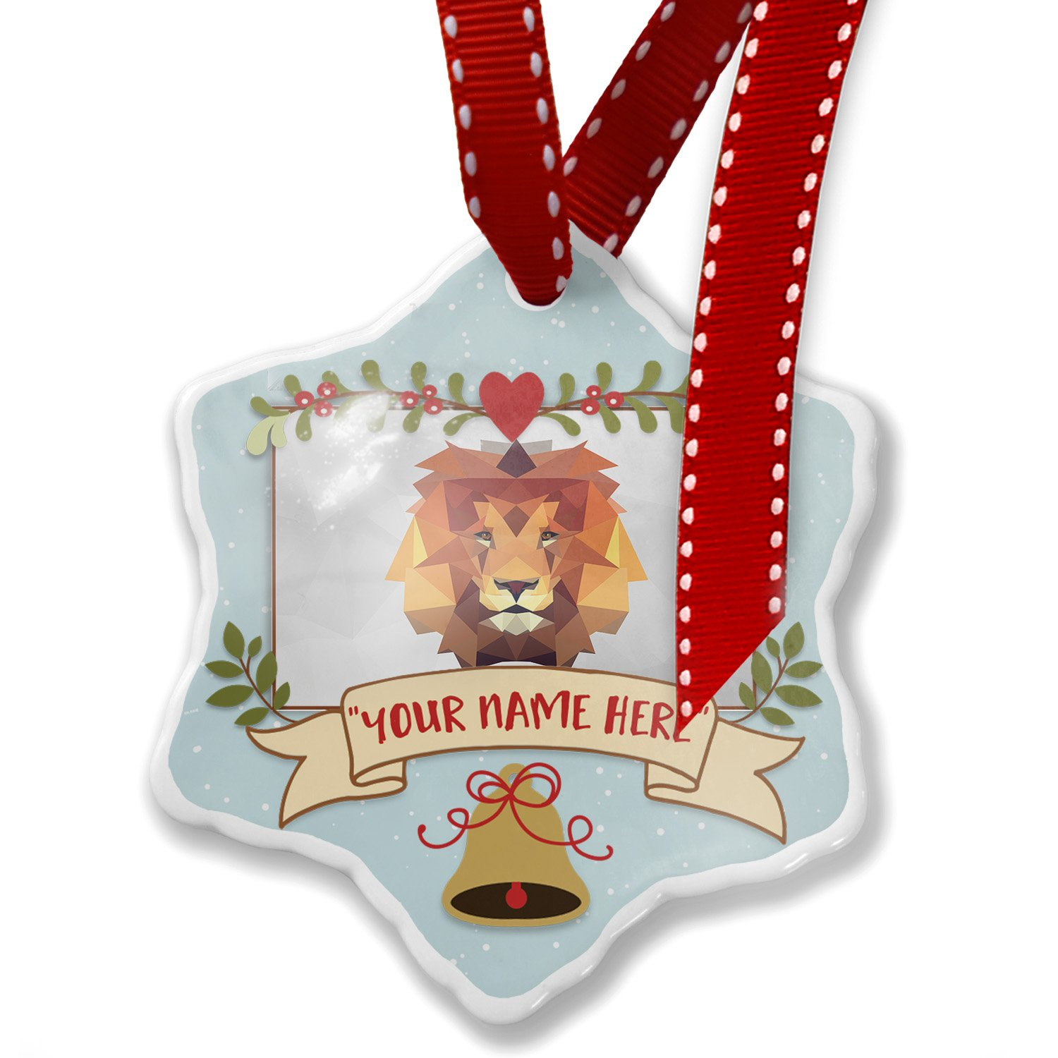 Add Your Own Custom Name, Low Poly zoo Animals Lion Christmas Ornament NEONBLOND
