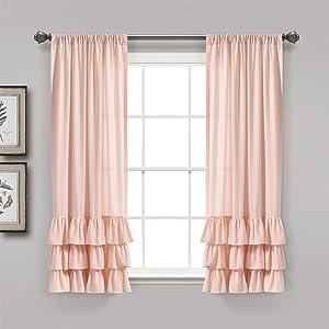 "Lush Decor, Blush Allison Ruffle Curtains Window Panel Set for Living, Dining Room, Bedroom (Pair), 63"" x 40"", 63"" L"