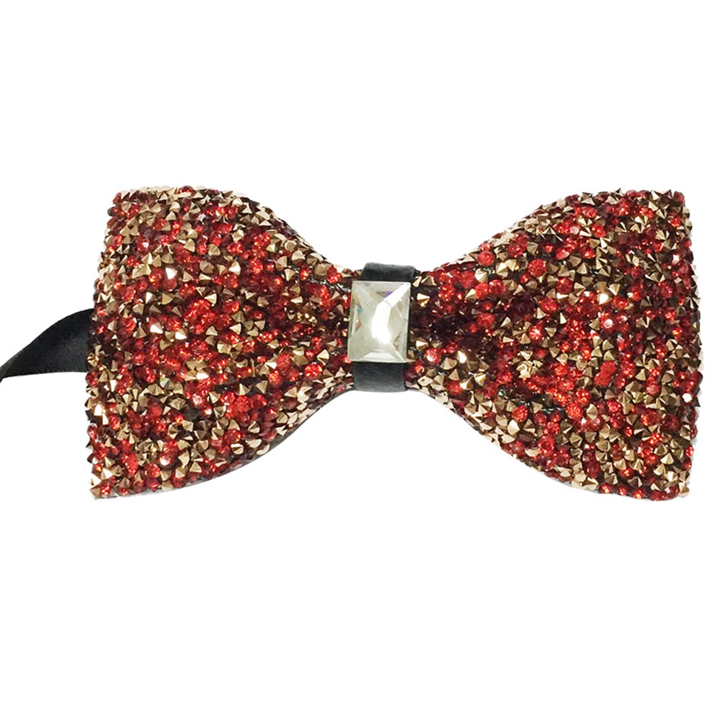 Mens Crystal Shining Luxury Pre-Tied Bow Tie Rhinestone Bowtie (Gold)