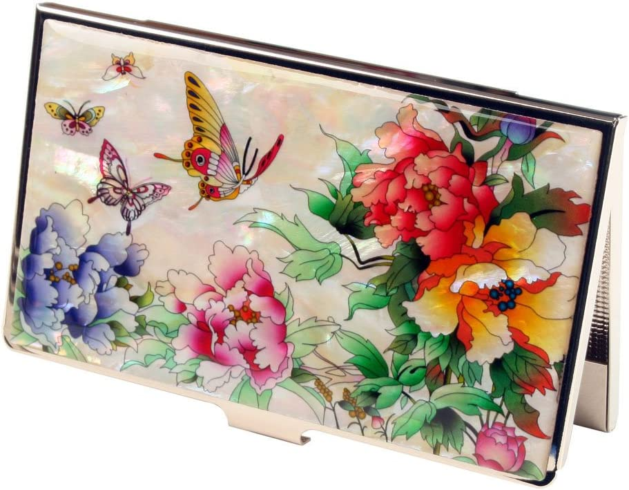 Mother of Pearl Red Pink Yellow Peony Flower RFID Blocking Protection Business Credit Name Card Holder Case Metal Stainless Steel Engraved Slim Purse Pocket Cash Money Wallet