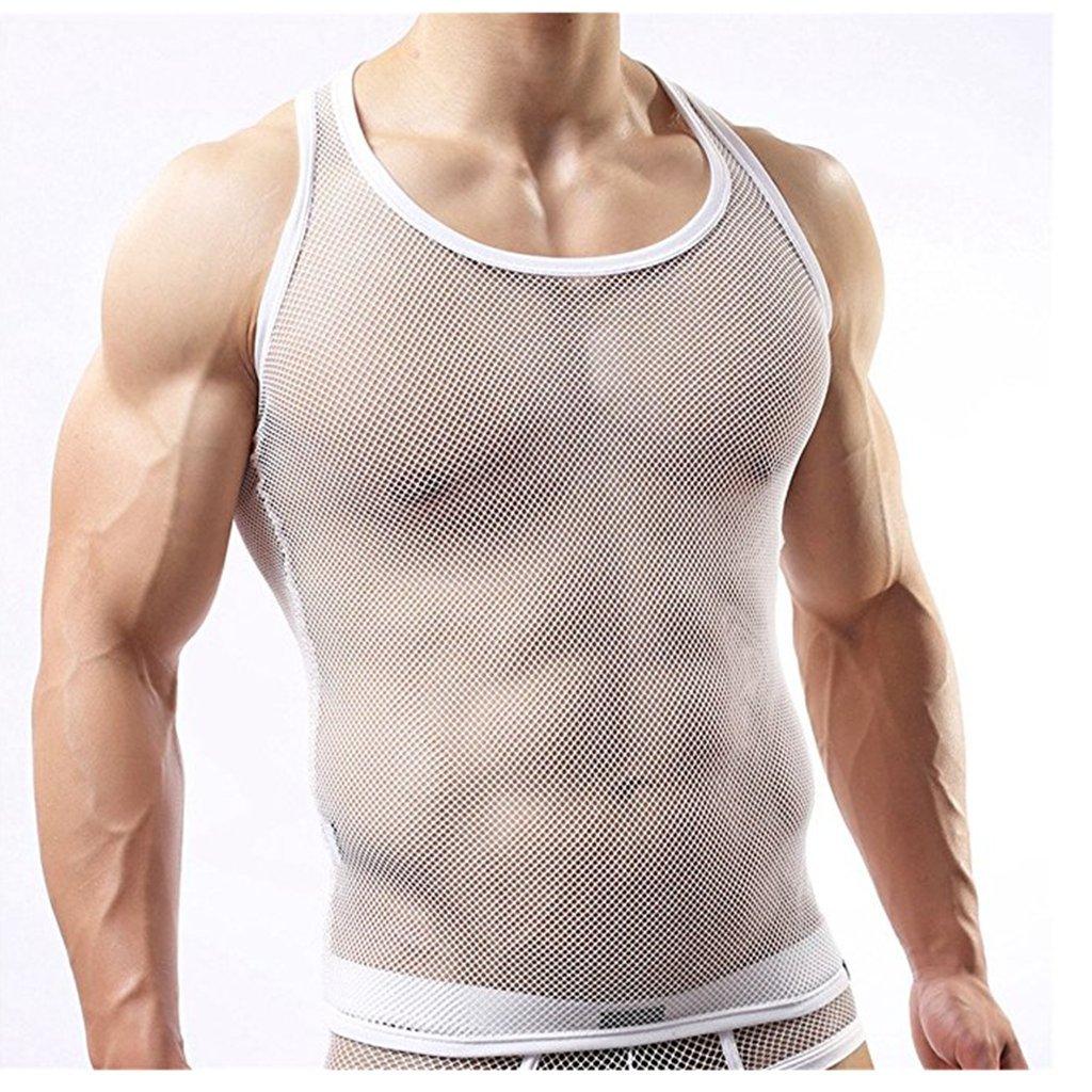 IGIG Mens See Through Fishnet Clubwear T-Shirt Undershirt Tank Top Vest
