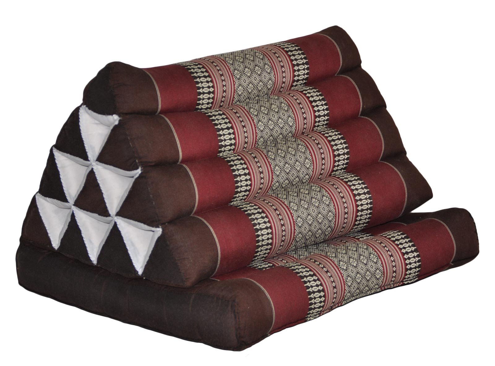 Thai triangle cushion with 1 folding seat, brown/burgundy, relaxation, beach, pool, meditation, yoga, (82501) by Wilai GmbH