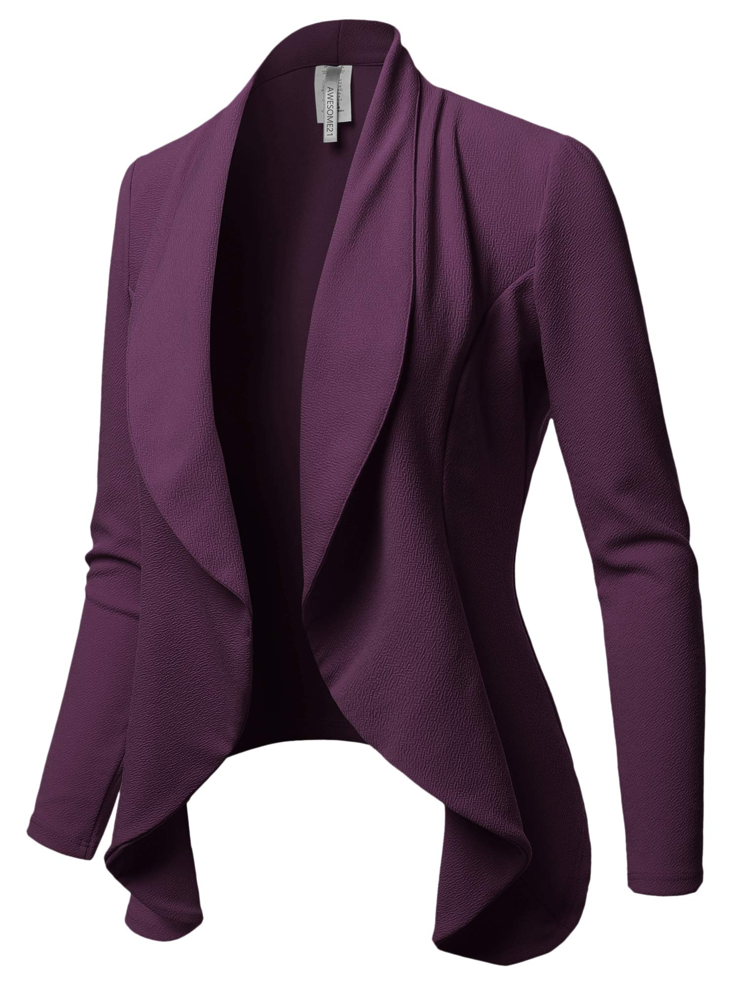 Awesome21 Solid Formal Office Style Open Front Blazer - Made in USA Plum XL