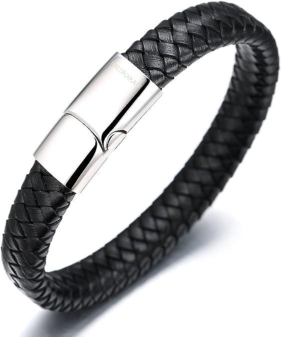 Halukakah Plus ● Solo ● Homme Bracelet en Cuir V/éritable Brun//Noir Fermoir Magn/étique en Titan Taille Ajustable 8.46-9 21.5-23cm avec Le Bo/îte-Cadeau Gratuit