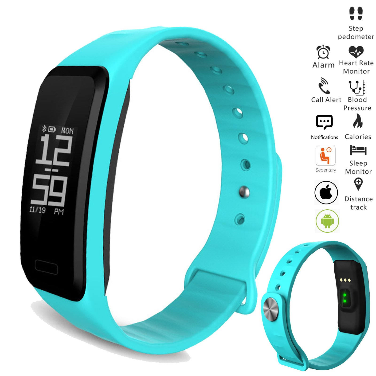 Fashionlive Smart Band Wristband Heart Rate Blood Pressure Oxygen Monitor Waterproof OLED Touch Screen Pedometer Sedentary Reminder for ios iphone Android Phones (Blue) by Fashionlive