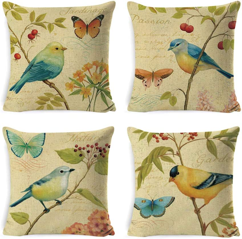 INSHERE Rustic Farmhouse Throw Pillow Cover Cotton Linen Burlap Decorative Cushion Covers Pillowcase Cushion Case for Sofa Bedroom Car 18 x 18 Inch 45 x 45 cm (Bird and Butterfly) …