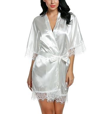 Aimado Batas Camisón Ropa de dormir para mujer de Satén y Encaje con cinturón de raso en estilo kimono elegante y atractiva: Amazon.es: Ropa y accesorios