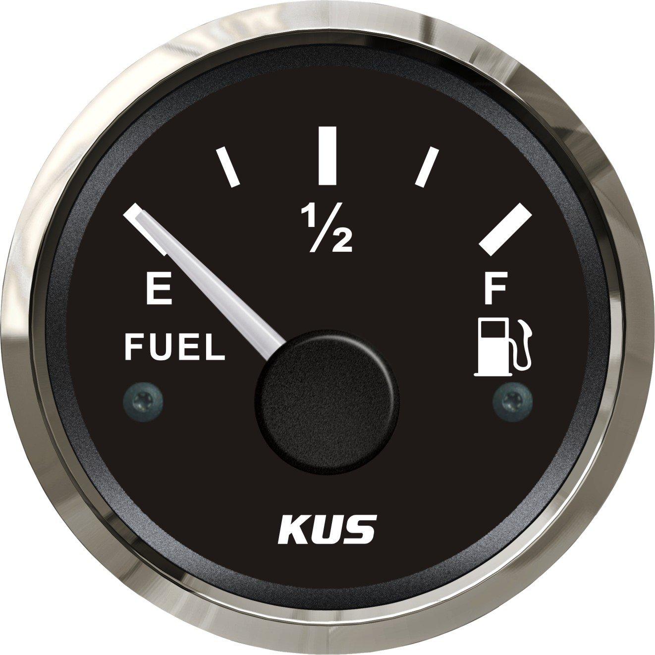KUS Warranted Oil Fuel Level Gauge Meter Indicator 0-190ohm with Backlight 12V/24V 52MM(2'') by KUS