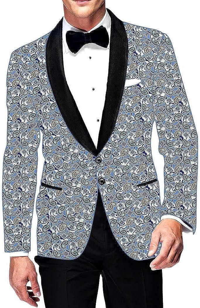 INMONARCH Mens Slim fit Casual Sky Blue Cotton Blazer Sport Jacket Coat Paisley Design SB14452