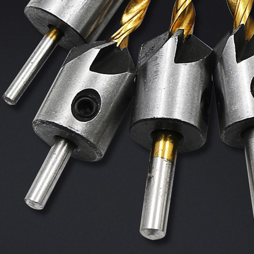 Titanium Drill Bits,Y56 DIY Titanium HSS Flute Countersink Drill Bit Set Screw Woodworking Chamfer Tool 4PCS