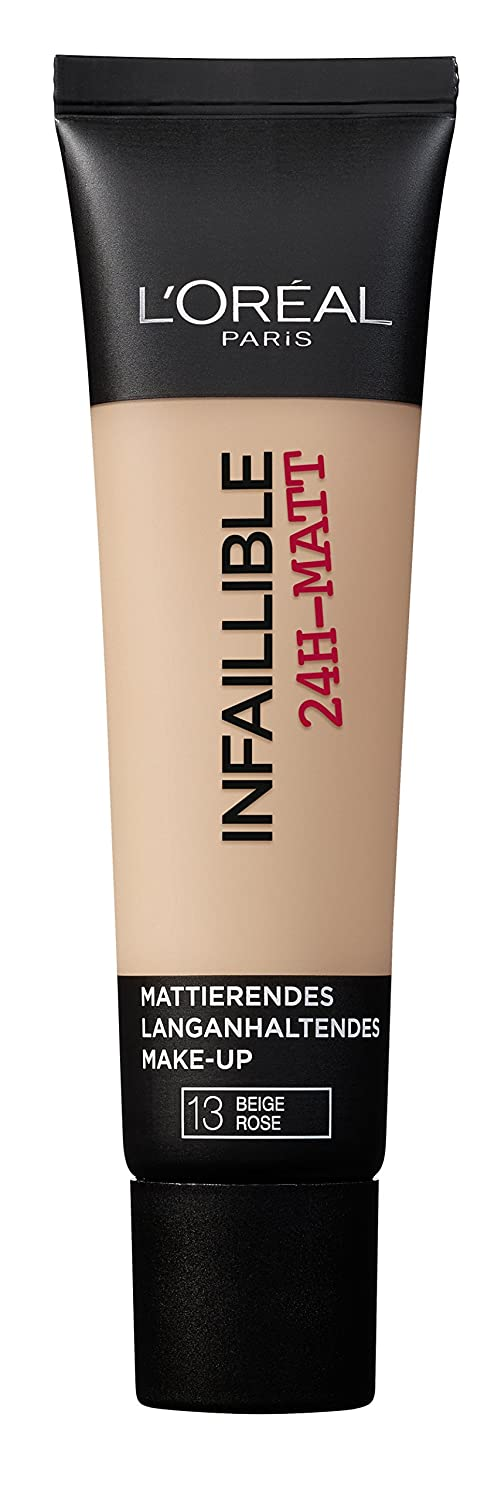 L'Oréal Paris Infaillible 24H-Matt in Nr. 12 Natural Rose, langanhaltendes Flüssig-Make-up mit hoher Deckkraft, 35 ml L' Oréal Paris A84978