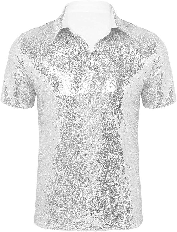 JOGAL Herren Pailletten Hemd 70er Kurzarm Disco Party Kost/üm