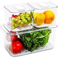 REFSAVER Fridge Storage Containers Produce Saver Stackable Refrigerator Organizer Bins with Removable Drain Tray Fridge…