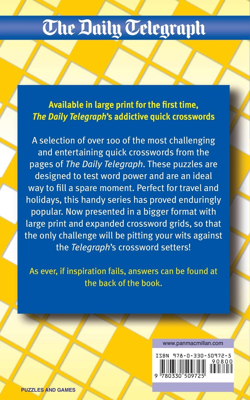 2136f3e0e The Daily Telegraph Book of Large Print Quick Crosswords: Amazon.co.uk:  Telegraph Group Limited Telegraph Group Limited: 9780330509725: Books