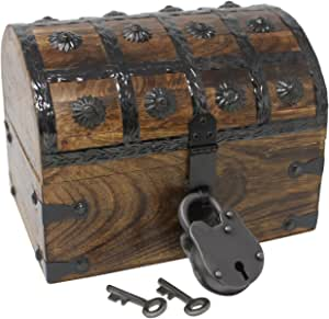 """Wooden Pirate Treasure Chest Box 17/"""" x 10/"""" x 8/"""" Bright Gold Accents Solid Wood"""