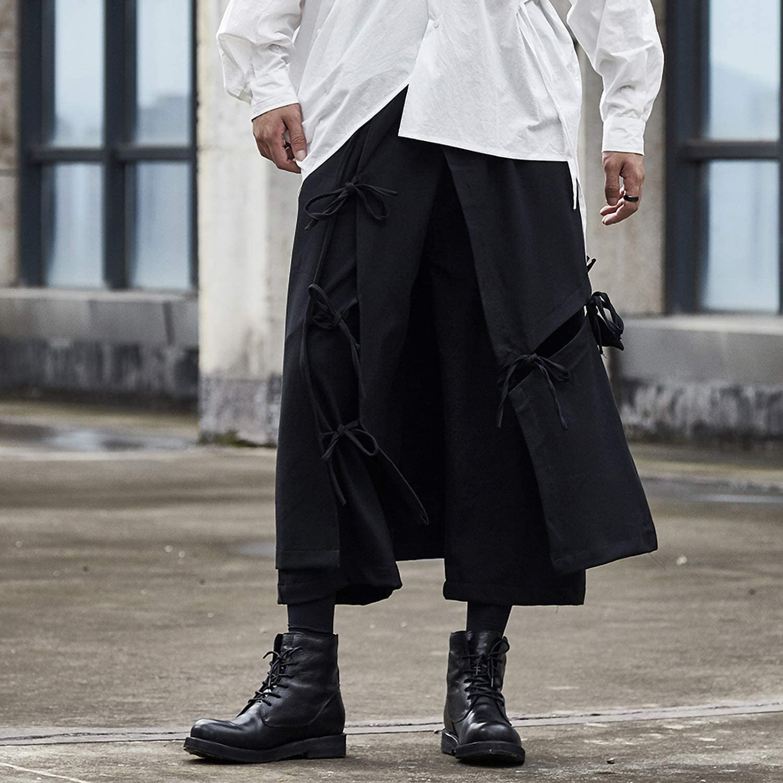 MOKEWEN Mens Loose Elastic Waist Novelty Harem Pants