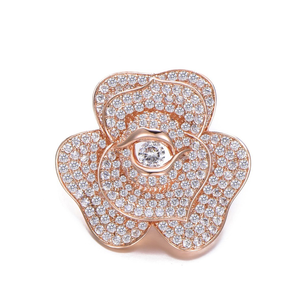 Flower Brooch Pins for Women,Dazzling Rhinestone Brooch for Brides Copper Vintage Crystal Brooch Girls CZ Brooch for Wedding,Party (Rose Gold Flower)