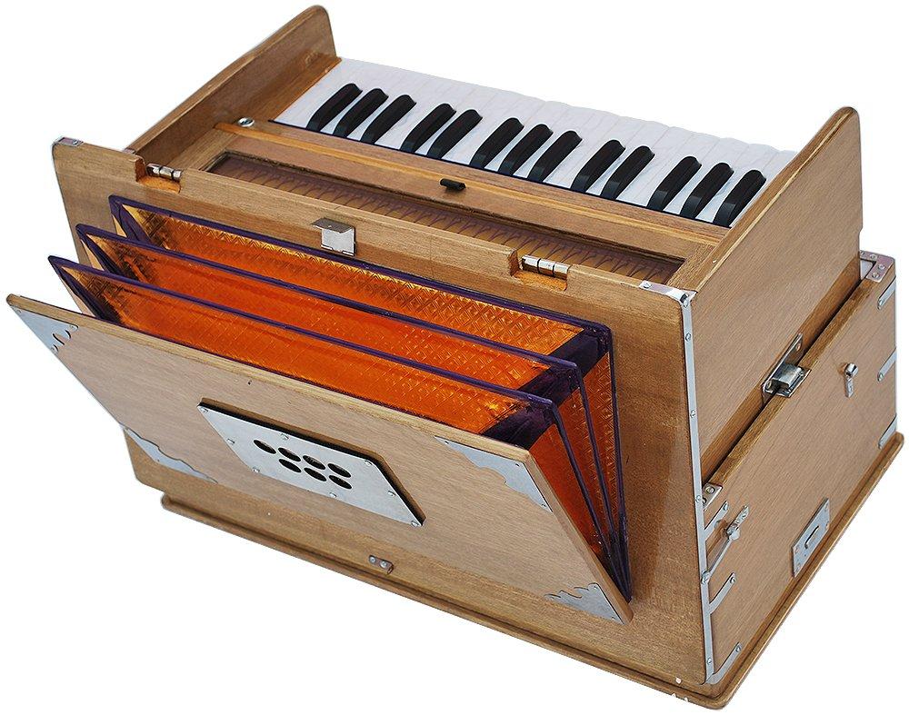 Safri Harmonium- 2¾ Octave By Kaayna Musicals-Portable, Traveler, Baja, 4 Stops (2 Drone), Two Set Reed- Bass/Male, Teak Color, Gig Bag, Tuning: 440 Hz, Suitable for Yoga, Bhajan, Kirtan, Mantra, etc by Kaayna Musicals (Image #1)