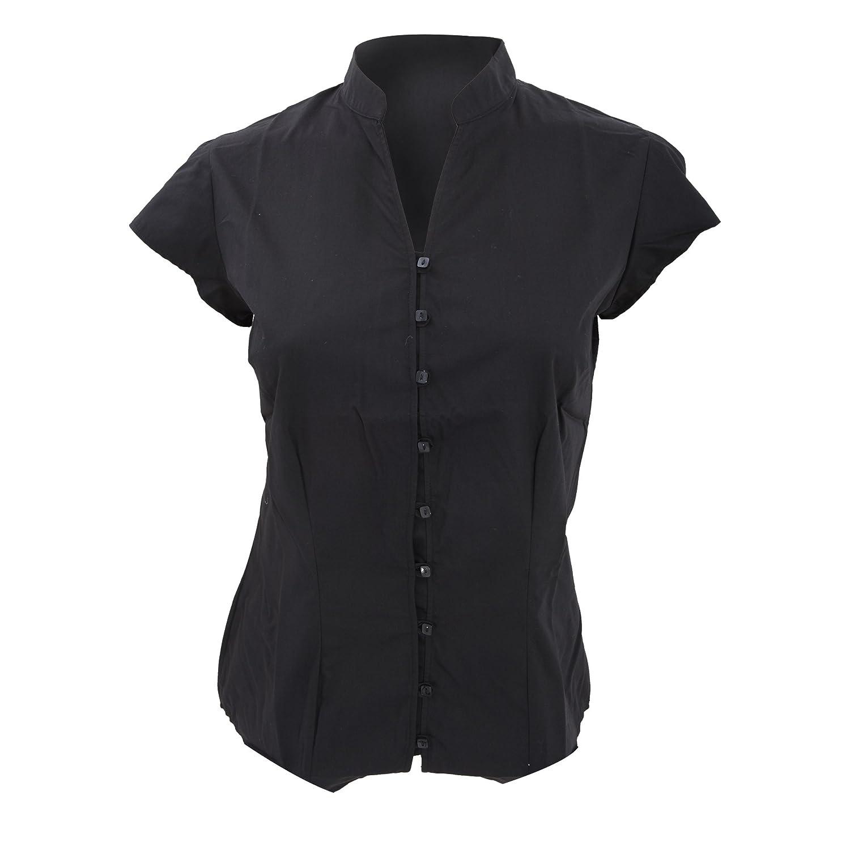 Kustom Kit Ladies Continental Blouse Mandarin Collar Cap Sleeve (8 US) (Black) UTBC631_2