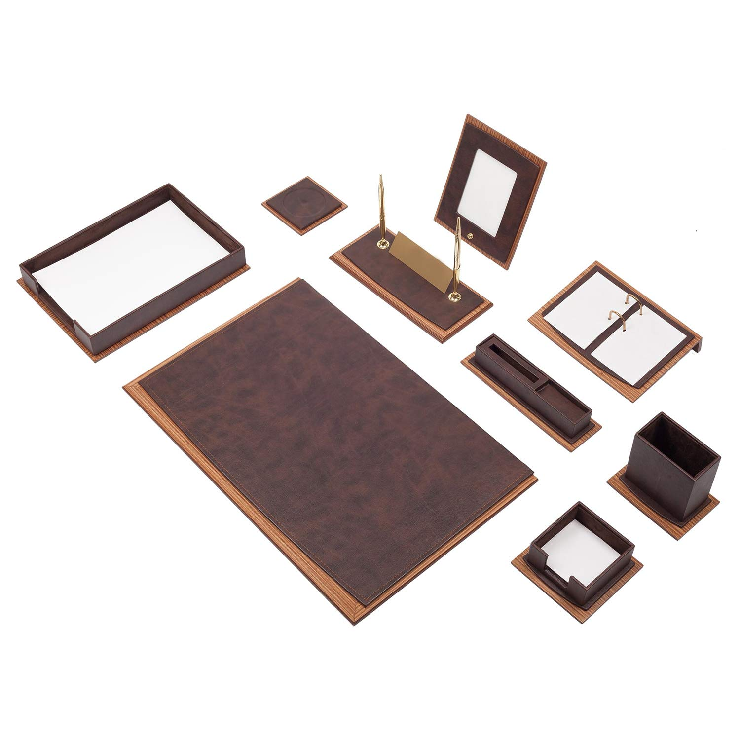 Color:Black Luxurious Star 11 Piece Office Desk blotter Set Desk pad with Document Holder Made of Wood-Leather in 5 Colours