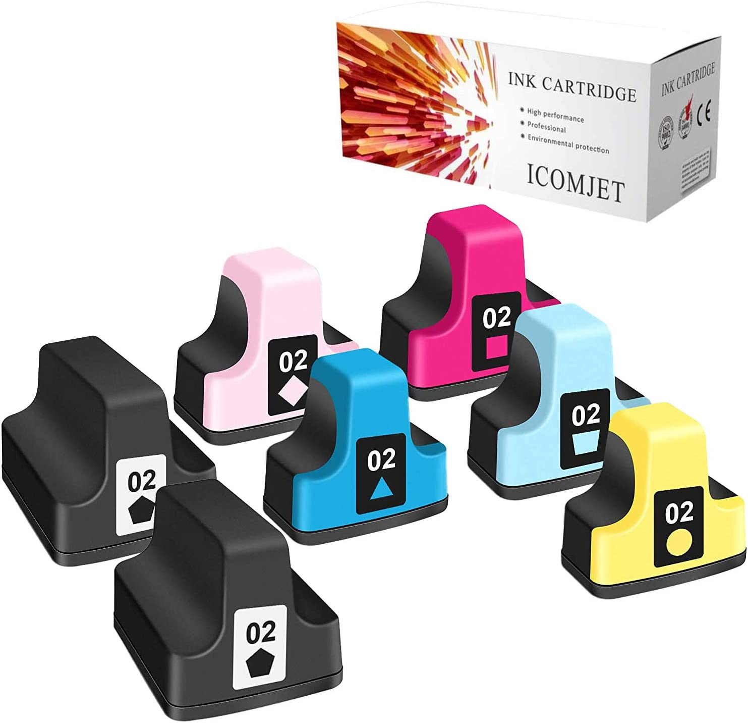 ICOMJET 7 Pack HP02 Compatible Ink Cartridge Replacement for HP 02 Use for HP Photosmart C5180 C7280 C6280 C6180 D7360 D7460 8250 C7200 Printer