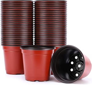 VIVOSUN 50pcs 6 Inch Planter Nursery Pots, Plastic Pots for Flower Seedling
