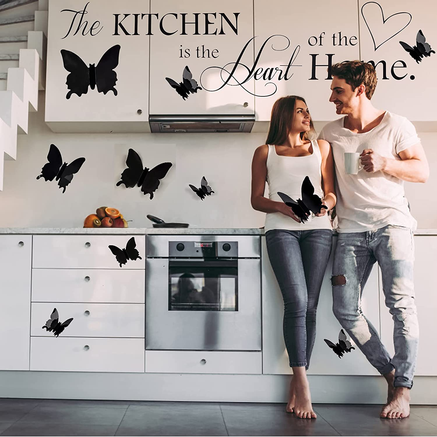 Wall Stickers Lanstics Kitchen Quote Wall Stickers Butterfly Wall Decal Dining Room Kitchen Wall Decals Removable DIY Stickers Vinyl Home Décor