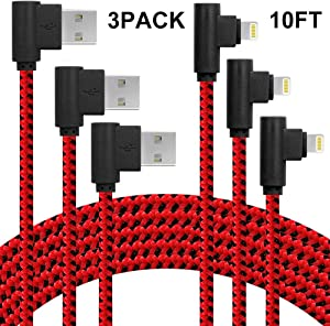 3 Pack iPhone Charger 10ft Right Angle Lightning Cable 90 Degree Charging Cord & Sync with Compatible with iPhone X 8 7 6 (Red Black,10ft)