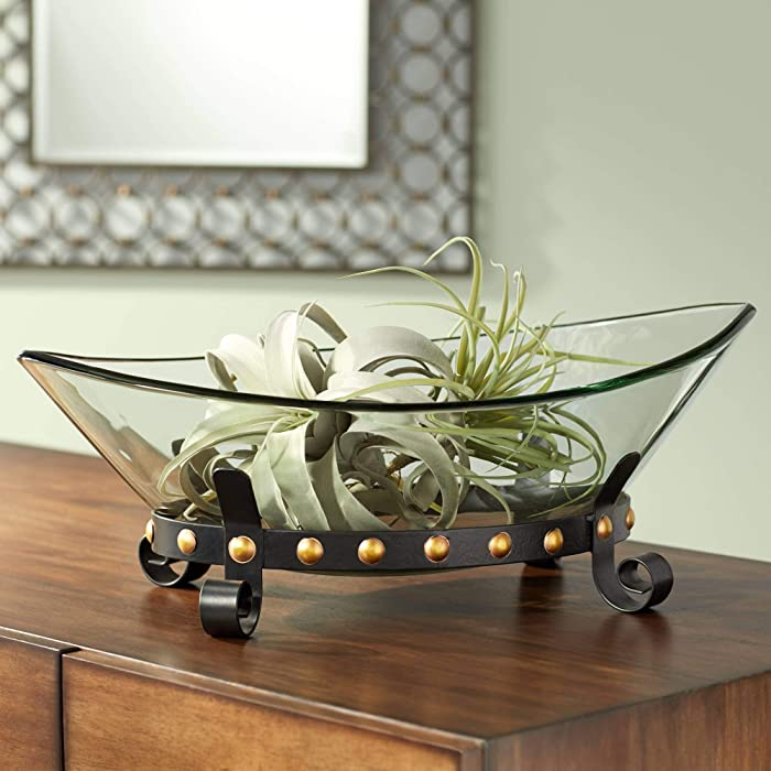 """Kensington Hill Rayden 23 1/4"""" Wide Decorative Glass Bowl with Studded Base"""